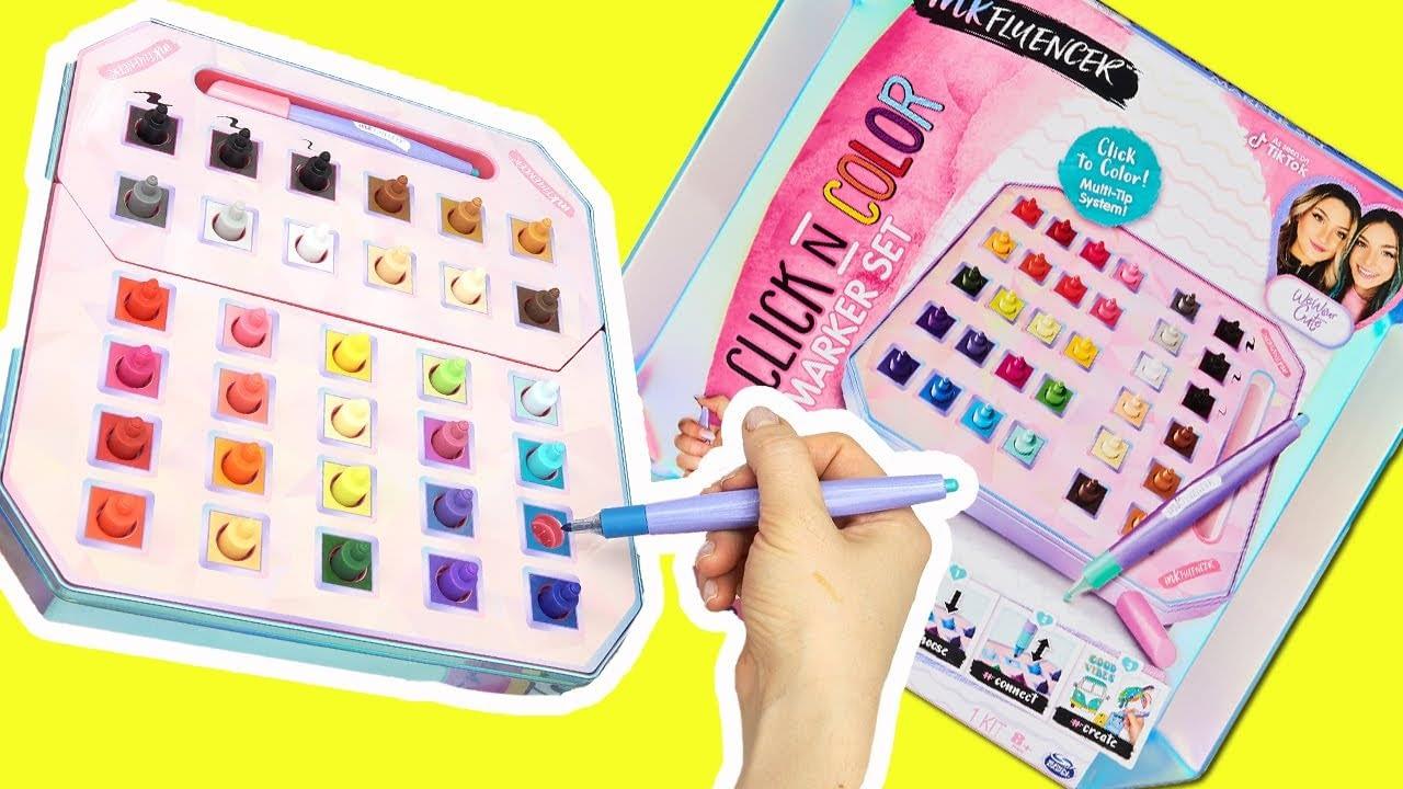 Klik N Color Marker Set Unboxing dan Coloring!  Set Kegiatan Seni dengan 32 Warna (Kami Memakai Lucu)